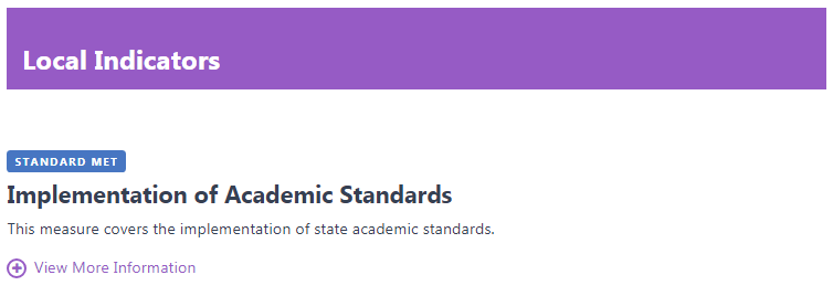 Screen Shot from 2018 California School Dashboard showing the Local Indicator for Implementation of State Standards.